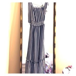 long blue and white striped dress